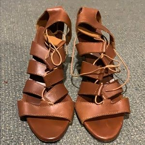 J. Crew Brown Leather Gladiator Wedges 8.5 8 1/2